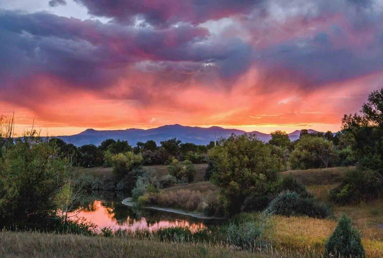 Sunset at Majestic View Nature Center in Arvada, CO
