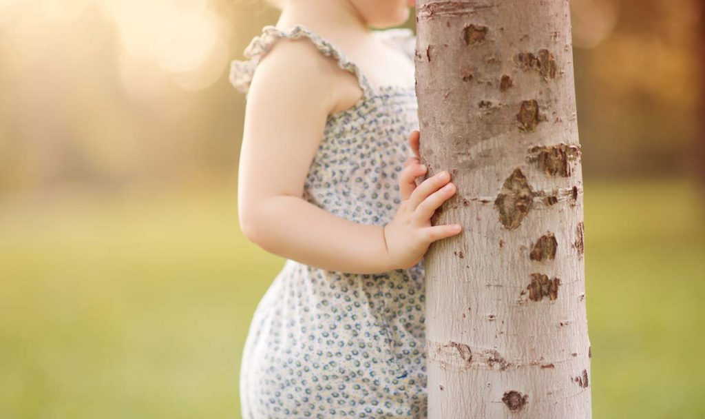 Child's hand holding a tree trunk as captured by a baby photographer