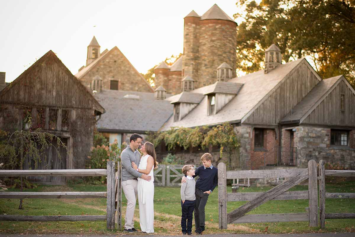 Stone Barns NY family portrait with two boys smiling
