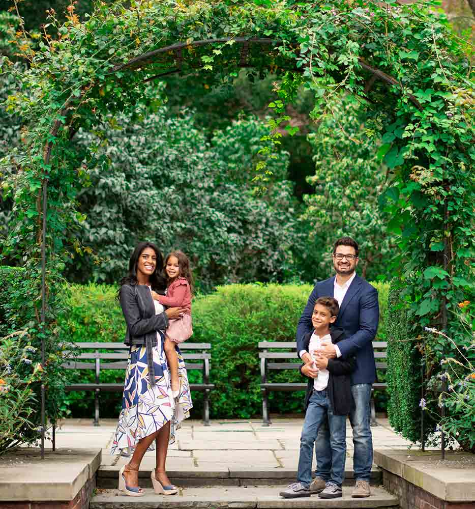 Family photo set amidst beautiful ivy leaves