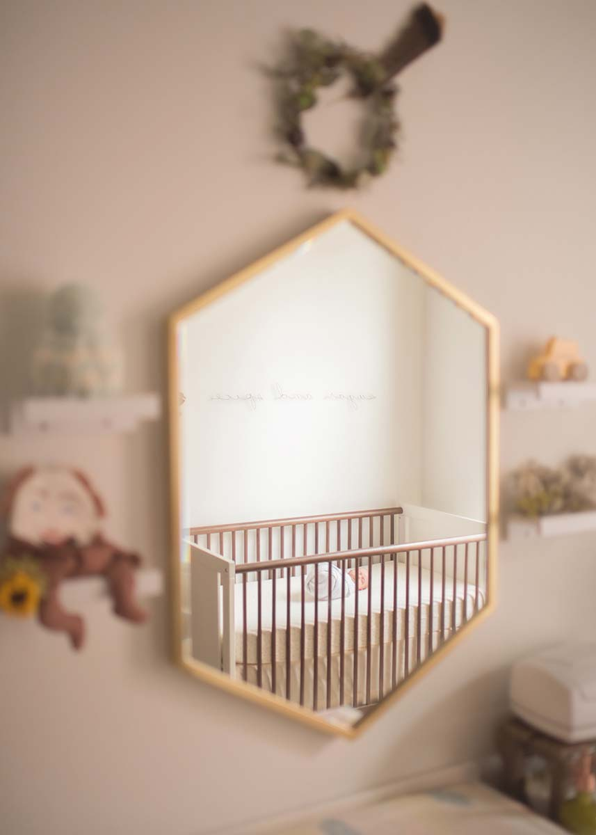 Modern nursery with a baby sleeping in a crib