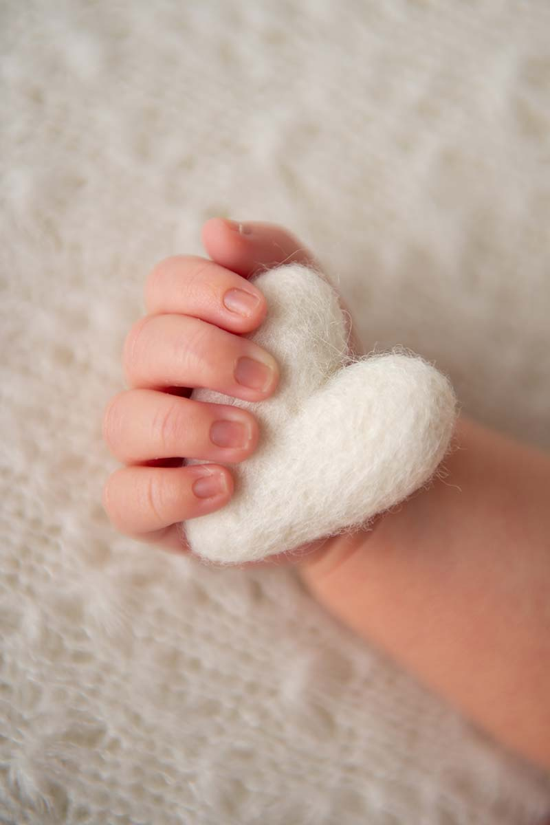 Newborn baby holding a felt heart in his hand in this adorable photo